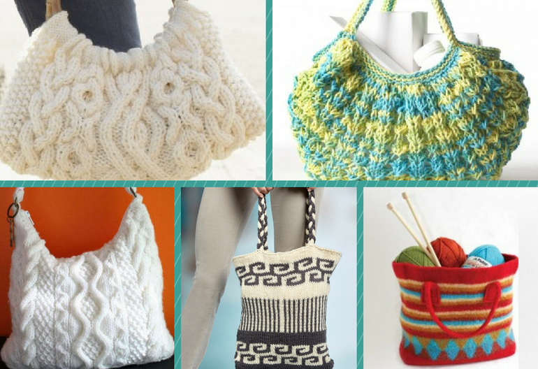 Stylish Knitting Patterns : 15 Stylish Bags and Totes to Knit (Free Patterns Included) Knitting Women