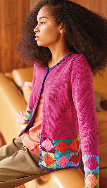 217a6b25d942a1 This neat cardigan features geometric colour work bands and would be a  great introduction to colour work knitting